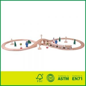 35 pc Tracks & Accessories Wooden Educational Play Toys Railway & Train Set For Kids