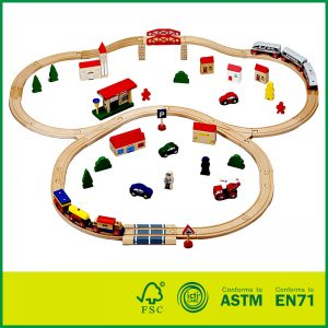 Classic Wooden Toy 70pcs Mini Train Tracks & Accessories for Toddlers & Older Kids Educational Toy
