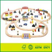 Educational kids play beech wood train track set 100 pcs round corner wooden railway set