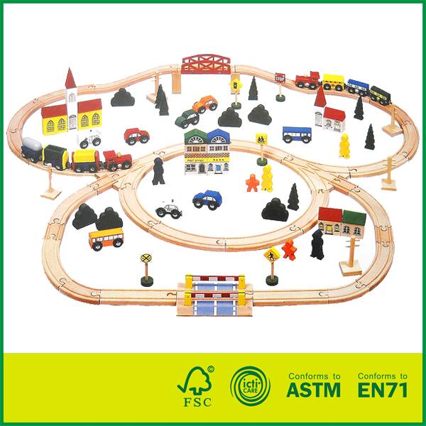 11RAI12 Educational kids play beech wood train track set 100 pcs round corner wooden railway set