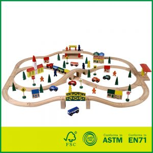 China Zhejiang Educational Wooden Toys Wooden Train Tack Toy Conforming to EN71 ASTM