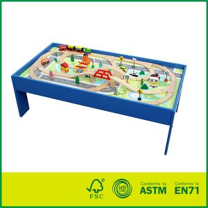 Classic Wooden Toy Train Railway Set Toy Wooden Activity Train Set Table