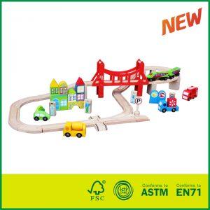 56 Piece Popular Wooden Train Set for Kids Railway Toy Train