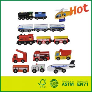 15 Pcs Wooden Train Cars Emergency Vehicles Collection With Railway Carriage For Sale