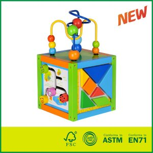 wooden activity cube Kids Educational Toy Multifunctional Beads Maze Toy Cube Puzzle