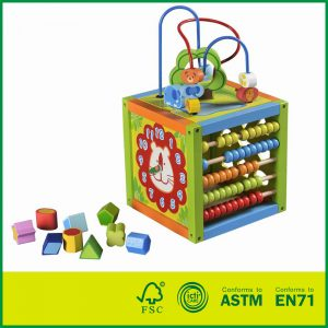 parents wood large wood activity cube Multi-Functional Bead Maze Wooden Activity Cube toys Toddler Discovery Wooden 5 Way Activity Cube with Shape Sorter, Clock, Gears, & 2 Mazes