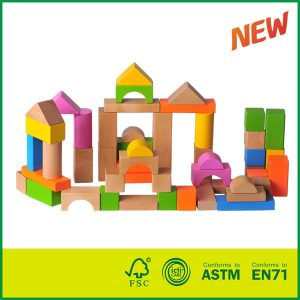 54Pcs Toddlers Preschool Age Classic Wooden Building Block Set