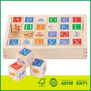 24 pcs Printed Wooden Cubes Blocks bass wood Kids Learning Alphabets Square Blocks