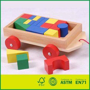 Eco-friendly Block Car Classic Toy Block Truck Wooden Preschool Toy