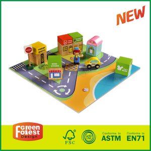 Hot Sale Mini City Rubber Wood Boy Girl Children Educational Toys Wooden blocks for Kids