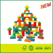 Eco-friendly 80 pcs Colorful Toy for Kids Wooden Building Blocks