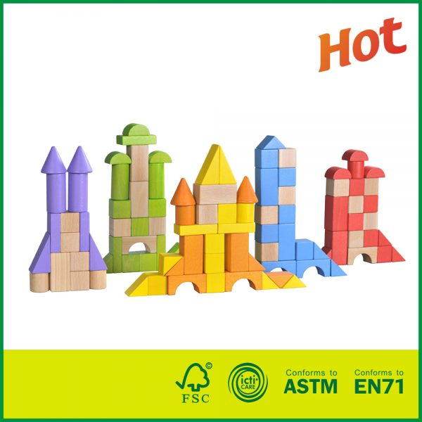 12BLK24 Deluxe Hand-Crafted Kids Building Toy Wooden Colorful Stacking Blocks Set