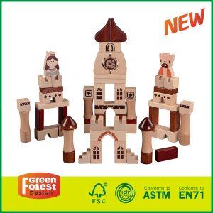 """62PCS """"Medieval Castle"""" Kids Educational Wood Block Toy Set"""