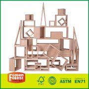 36Picecs Pine Natural and Jumbo Kids Building Toy Big Wooden Hollow Blocks Set