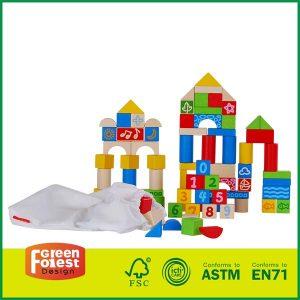 80 PCS Brich Wooden Block Toys Set
