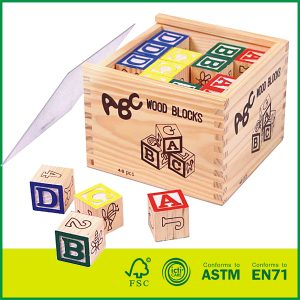 48pcs Pine Wooden Cube Alphabets Blocks Set for Kids' Learning ABC blocks