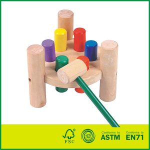 Wooden Pounding Bench Toy for Toddlers, Pound & Tap w/ Wood Hammer & Colored Pegs | Developmental & Sensory Toy for Boys & Girls wooden hammer bench