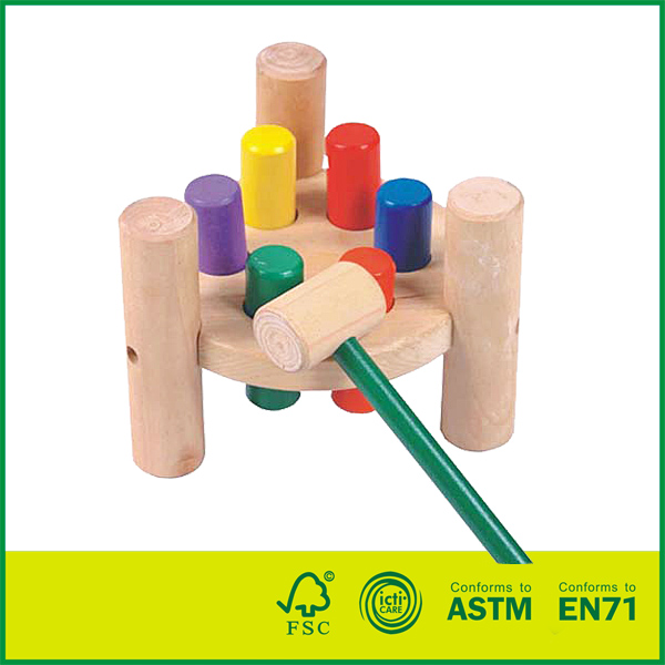 12HAM02 Wooden Pounding Bench Toy for Toddlers, Pound & Tap w/ Wood Hammer & Colored Pegs | Developmental & Sensory Toy for Boys & Girls