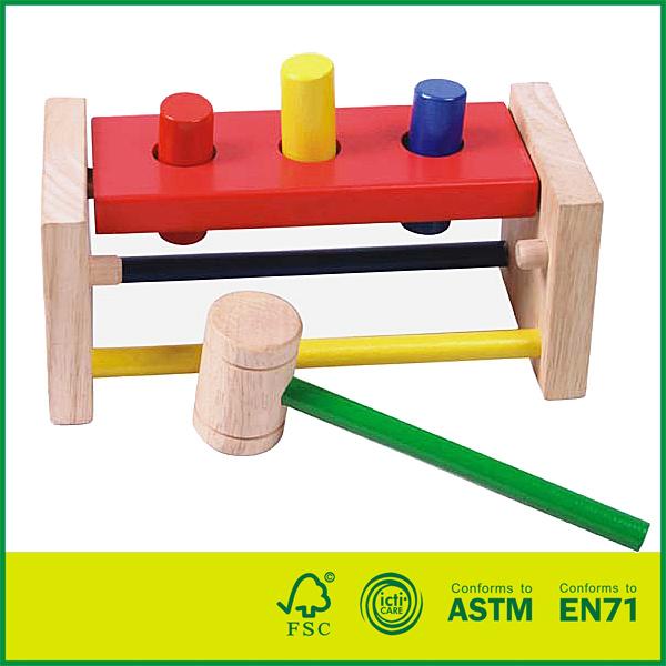12HAM03 Wood Birch Wood Kids Prechool Toys Non-Toxic Wooden Hammer Toy