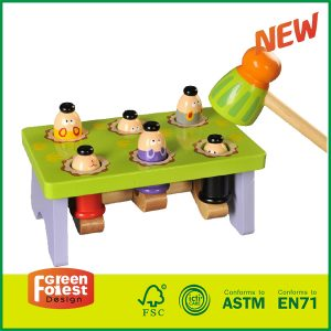 Child's Classic Wooden Pounding Bench Toy for Toddlers, Pound & Tap w/ Wood Hammer & Colored Pegs   Developmental & Sensory Toy for Boys & Girls