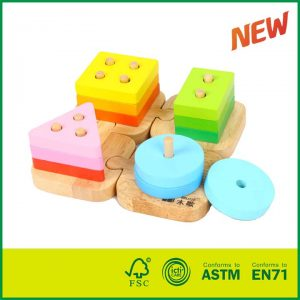 Classic Rubber Wood Early Learning Toys For Kids Non-toxic Toy Geometric Shapes