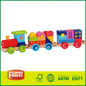 Wooden Stacking Train for Kids Puzzle Wooden Building Blocks Toy Train Set