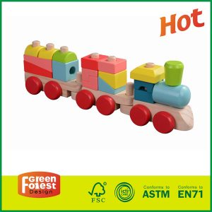 Kindergarten Wooden Toy Stacking Train Educational Wooden Toy Train