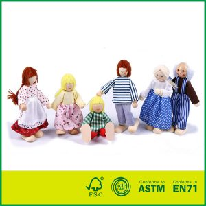 Happy Doll Family for Kids Fun Role Playing Wooden Dolls