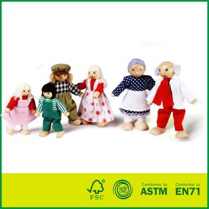 Wooden Happy Doll Family of 6 People Wooden dollhouse with dolls
