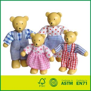 Lovely Little Bear Family Mini Wood Bear Doll Toy Family Wooden Dolls