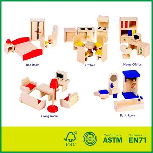 Best Quality 25 Pcs Pine Wood Kids Furniture Toys ASTM Qualified Toys Doll Bedroom Furniture