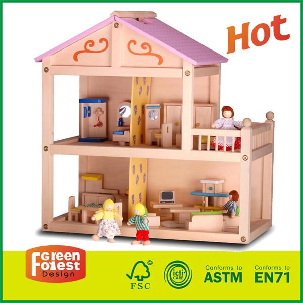 14HOU06 Hot Sale Pretend Girl Toy Handmade Wooden Doll House