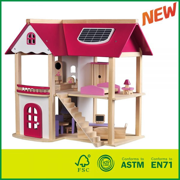 14HOU09 Pretend Play Game Wooden Toy Doll House with 19 Pieces of Furniture Accessories for kids
