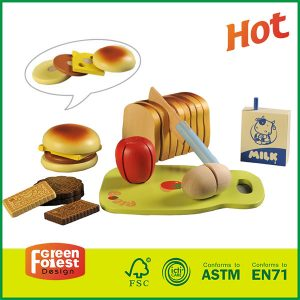 New Product Kids Food Play Set Wooden Breakfast Cutting Set