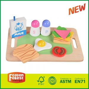 Food Wooden Breakfast Playset (11 pcs) With Milk /Bread/ Butter/Fruit/Sauce,Pretend Play Games Kid's Toys, Right Gifts For Child