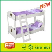 New Design Wooden Kids Pretending Toy Doll Bunk Beds with Ladder for 18 Inch Doll Furniture (bedding not included)