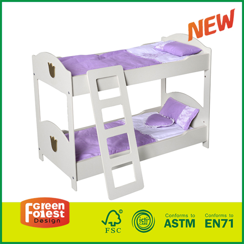 15FUR02A New Design Wooden Kids Pretending Toy Doll Bunk Beds with Ladder for 18 Inch Doll Furniture (bedding not included)