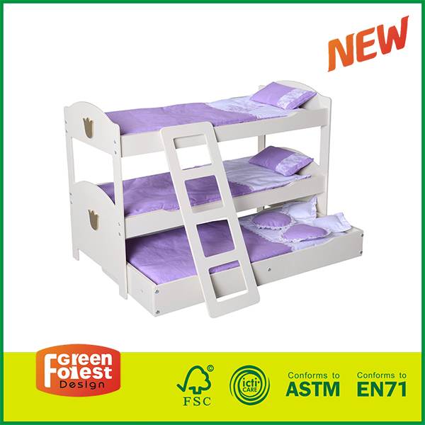 15FUR04A New Wooden 18 inch American Girl Bunk Beds with Ladder for Kids Role Play Doll Furniture