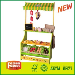 Wooden Pretend Play Center Market Play Toy Larget Shopping Stand for Kids