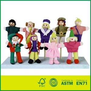 Hot Sale Professional Puppets with Wooden Head Finger Puppets for Kids