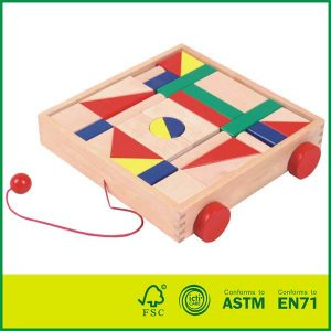 Classic Birch Wood Early Learning Wood Toys Building Blocks Cart Toys Kids Wooden Cart