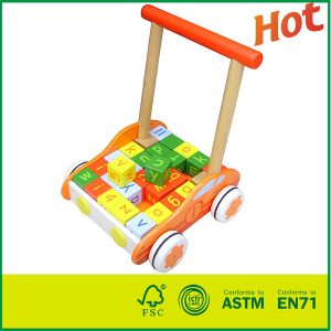 Wholesale Birch Wood MDF Kids Play Wood Push Toys With Educational Blocks Wooden Baby Walker