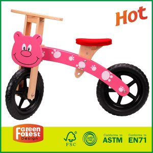 Wooden Balance Running Bike No Pedal Push Bike Balance Wood Mini-bike Training Bike For Toddlers and Kids