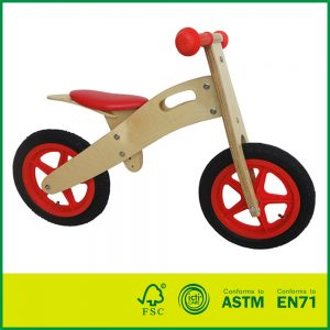Seat Adjustable Air Tyre Wooden Balance Bike for Kids with 12'' Wheel Kids Balance Bike