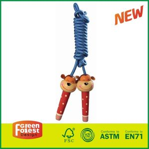 Hot Selling Jump rope With Wood Painted Handle Kids OutdoorToy Wooden Skipping Rope