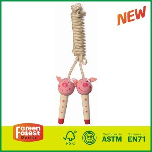 Good Selling Outdoor Kids Sports Toys Wooden Handle Skipping Rope Birch Wood Jumping Rope