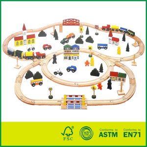 Educational kids play beech wood train track set 100 pcs round corner wooden railway set