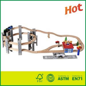 Deluxe Spiral Railway Set Compatible with All Major Brands Wooden Train Set Toy