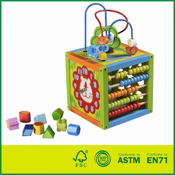 12ACT06 Parents Wood Large Wood Activity Cube Multi Functional Bead Maze  Wooden Activity Cube Toys