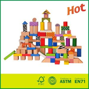 Cheap Lovely Child 100pcs Colorful Collection of Wooden Block Toy Construction Building Toys Set Stacking Bricks